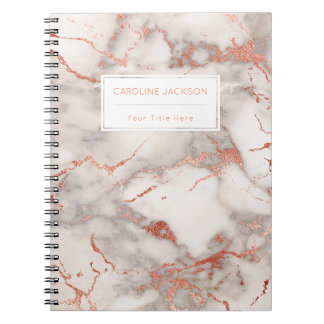 chic rose gold marble notebook