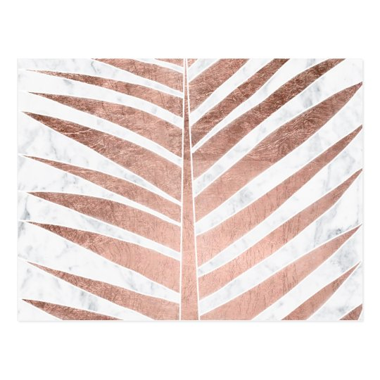 Chic rose gold tropical palm tree leaf white