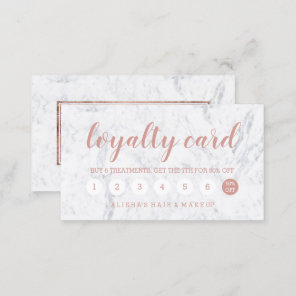Chic rose gold typography marble loyalty card 2