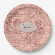 Chic Rose Gold Wedding Paper Plate