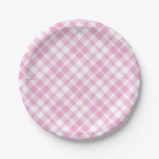 Chic Rose Pink and White Check Paper Plate