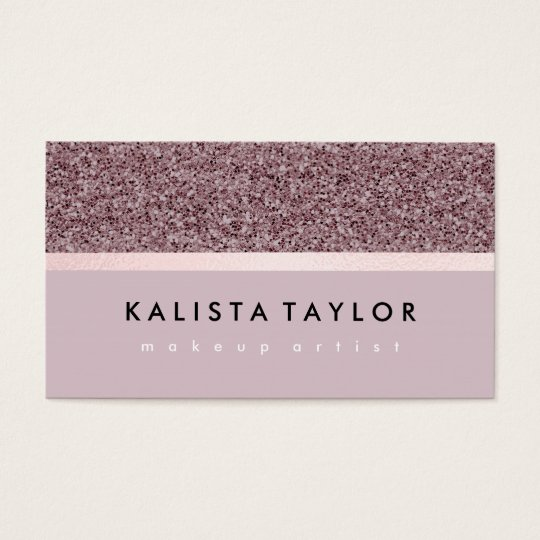Chic rose taupe glitter business card