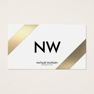 Chic Rough FAUX Gold Diagonal Lines White Modern Business Card