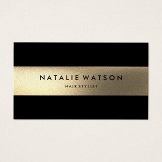Chic Rough FAUX Gold Stripe Black Modern Elegant Business Card