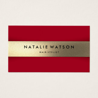 Chic Rough FAUX Gold Stripe Red Modern Elegant Business Card