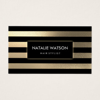 Chic Rough FAUX Gold Striped Black Modern Elegant Business Card