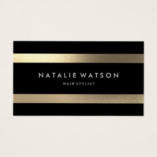 Chic Rough FAUX Gold Stripes Modern Elegant 2 Business Card