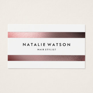 Chic Rough FAUX Metal Stripes White Modern Business Card