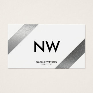 Chic Rough FAUX Silver Diagonal Lines White Modern Business Card