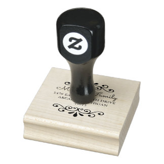 Chic Round Return Address Rubber Stamp