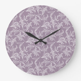 Chic Round Wall Clock: Lilies-of-the-Valley, Mauve Large Clock