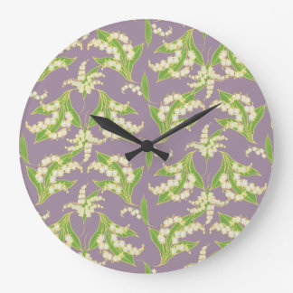 Chic Round Wall Clock: Lilies of the Valley, Mauve Large Clock