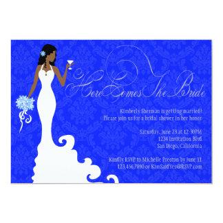 Chic Royal Blue Silver Damask Here Comes the Bride 13 Cm X 18 Cm Invitation Card