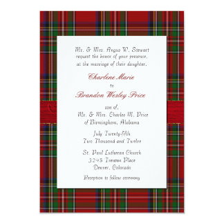 Chic Royal Stewart Plaid Wedding Invitation