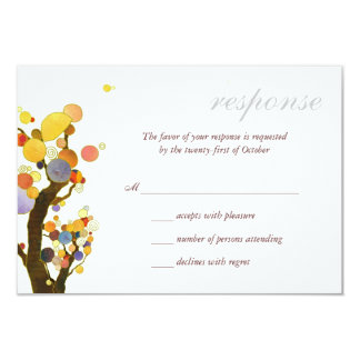 Chic Rural Trees Outdoor Wedding RSVP Card