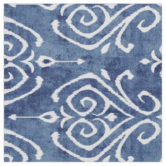 Chic rustic blue white damask ikat tribal patterns fabric