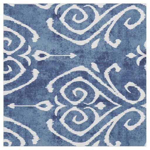 Chic rustic blue white damask ikat tribal patterns