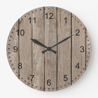 Chic Rustic Faux Wood Large Clock