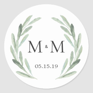 Chic & Rustic Green Wreath Monogram Wedding Favor Classic Round Sticker