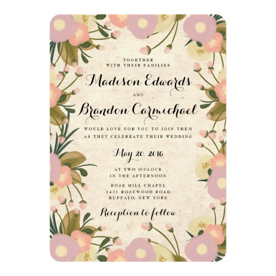 Chic Rustic Watercolor Floral Canvas Wedding Card