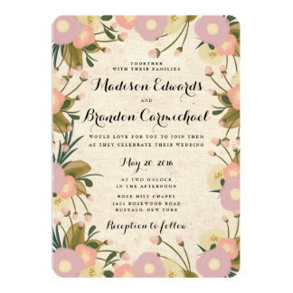 Chic Rustic Watercolor Floral Canvas Wedding 5x7 Paper Invitation Card