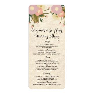 Chic Rustic Watercolor Floral Canvas Wedding Menu Card