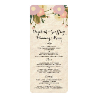 Chic Rustic Watercolor Floral Canvas Wedding Menu Personalized Announcements