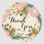 Chic Rustic Watercolor Floral Thank You Wedding