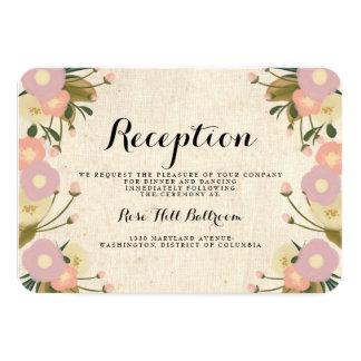 Chic Rustic Watercolor Floral Wedding Reception 3.5x5 Paper Invitation Card