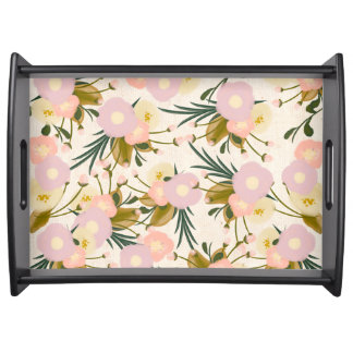 Chic Rustic Watercolor Retro Floral Lilac & Peach Serving Tray