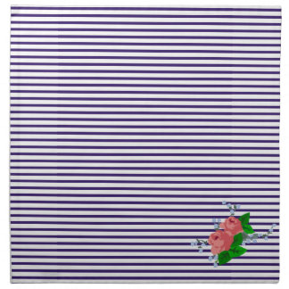 Chic sailor stripes and roses napkin