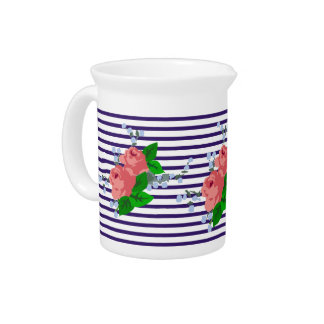 Chic sailor stripes and roses pitcher
