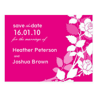 Chic Save the Date Pink Rose Postcard