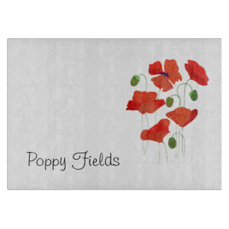 Chic Scarlet Field Poppies Glass Cutting Board