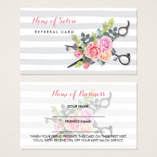 Chic Scissors Stripes and Roses Friend Referral Business Card