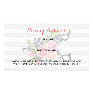 Chic Scissors Stripes and Roses Friend Referral Pack Of Standard Business Cards