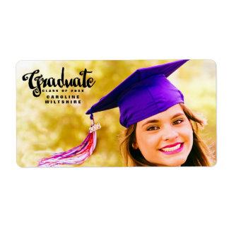 Chic Script Personalized Photo Graduation Shipping Label