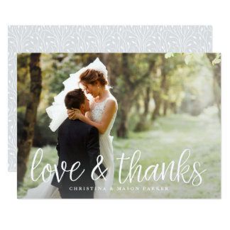 Chic Script Photo Thank You Card w/ Back Message