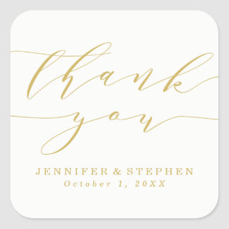 Chic Script | Wedding Thank You Square Sticker