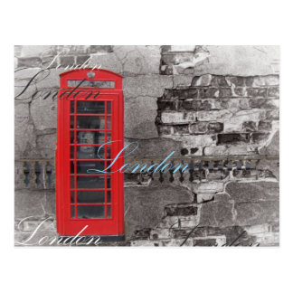 Chic scripts London Landmark Red Telephone Booth Postcard