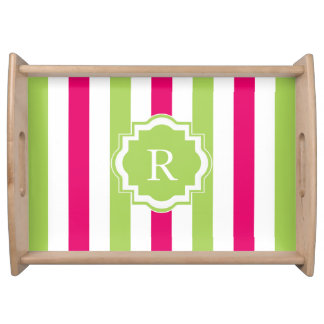 CHIC SERVING TRAY_LOVELY HOT PINK/GREEN STRIPES SERVING TRAY