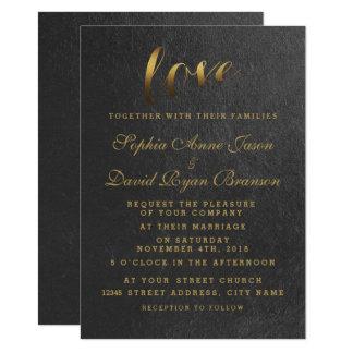 Chic Shining Gold Foil Love Black Wedding Invite