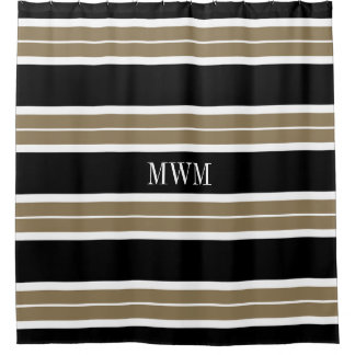 CHIC SHOWER CURTAIN_620 TAN/BLACK/WHITE STRIPES SHOWER CURTAIN