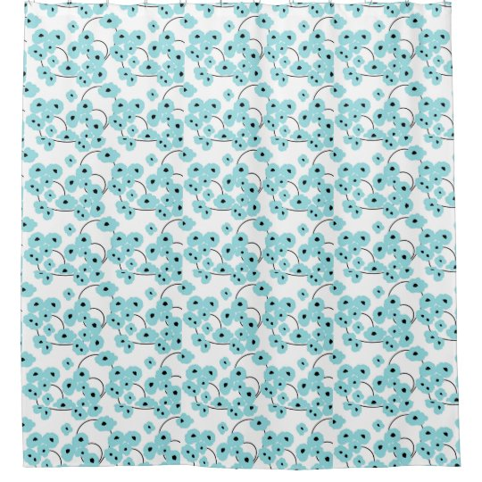 CHIC SHOWER CURTAIN_MODERN AQUA AND BLACK POPPIES SHOWER