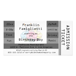 Chic Silver Admission Ticket Birthday Invite Personalized Photo Card