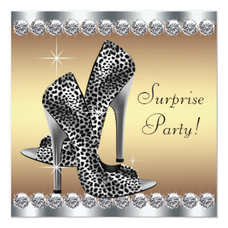 """Chic Silver and Gold Womans Surprise Birthday 5.25"""" Square Invitation Card"""