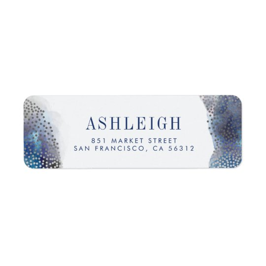 Chic Silver Foil Confetti & Watercolor Wedding Return Address Label