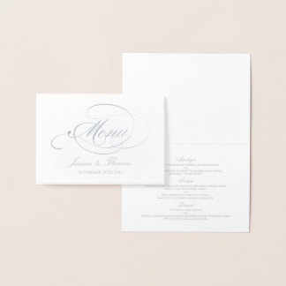 Chic Silver Foil & White Wedding Menu Template