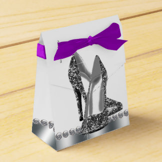 Chic Silver Glitter High Heel Shoe Favour Box