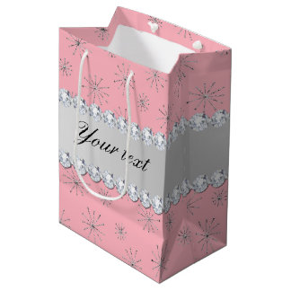 Chic Silver Glitter Snowflakes Pink Medium Gift Bag